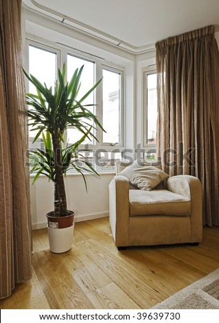 amazing living room with a large bay window arm chair and plant