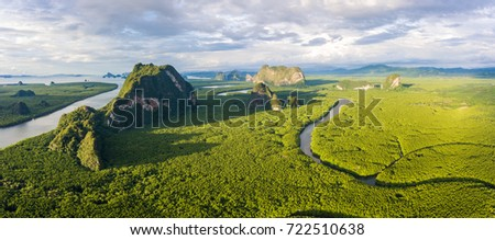 Amazing mangrove forest with beautiful sunlight at Phang-Nga bay, Thialand, Panorama view #722510638