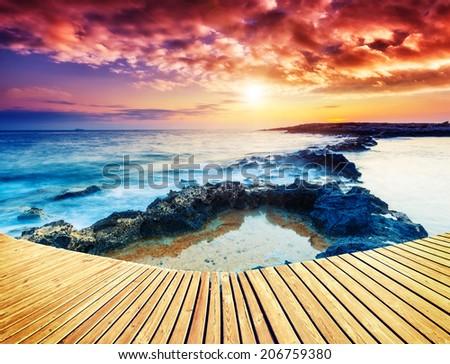 Amazing morning sun over the sea with overcast sky. Black Sea, Crimea, Ukraine, Europe. Beauty world. Creative collage.