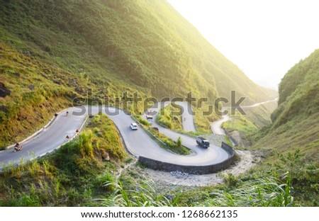 Amazing mountain pass road called Nine Ramps or Doc Chin Khoanh in Vietnamese near Dong Van Karst geological park, Vietnam