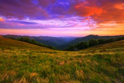 amazing mountains scenery, picturesque summer sunset view on meadow on background valley, Europe, Ukraine, Carpathian mountains