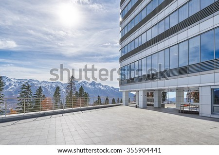 amazing mounting view from hotel or office terrace on sunny winter day.