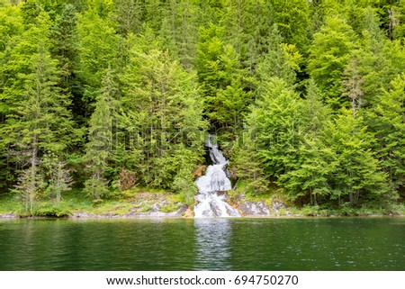 Amazing natural view of small waterfall in deep forest landscape