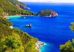 Amazing nature and sea landscapes of Greece. Skopelos island, Sporades. View of Stafilos bay
