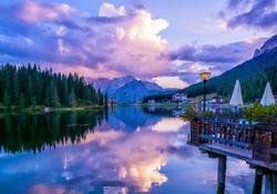 Amazing nature view of Misurina Lake and mountain range during a beautiful sunset. Location: Lake Misurina, Dolomites Alps, South Tyrol, Italy, Europe. Artistic picture. Beauty world. Nature Landscape