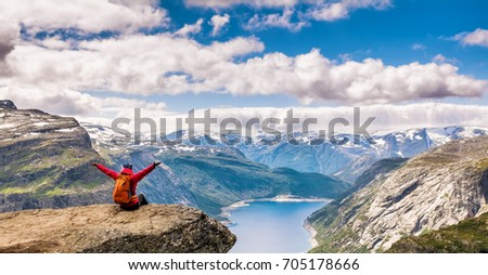 Amazing nature view on the way to Trolltunga. Location: Scandinavian Mountains, Norway, Stavanger. Artistic picture. Beauty world. The feeling of complete freedom.