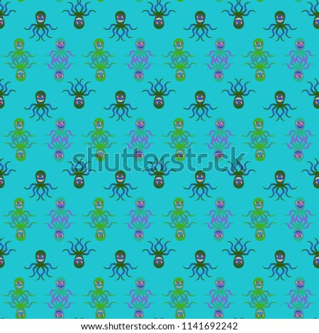 Amazing new animal multicolored childish sea octopus background seamless.