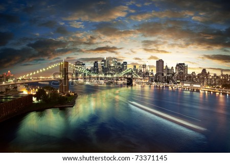 Amazing New York cityscape - taken after sunset #73371145
