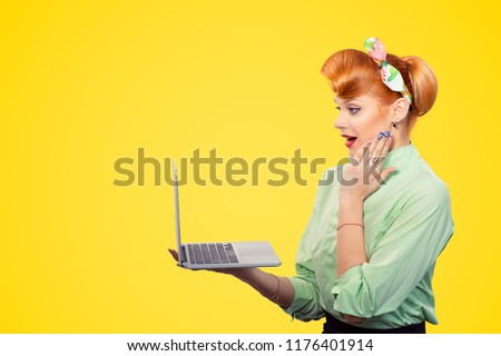 5264de069 Surprised stunned woman pinup girl in profile holding laptop computer hand  on cheek