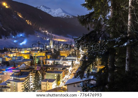 amazing night city panorama in winter ski resort of DAVOS, canton of grisons, SWITZERLAND. Home of the  economic forum every january
