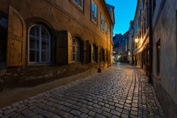Amazing night view of Dlouha Street in Cesky Krumlov, which is included in UNESCO monuments. The historical center of Krumlov is one of the biggest tourist attractions. Český Krumlov also attracts can