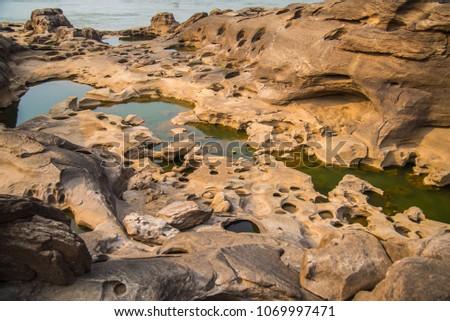 Amazing of Rock Grand canyon in Khong River (Sam Phan Bok) in Summer ,Ubon Ratchathani, Thailand. #1069997471