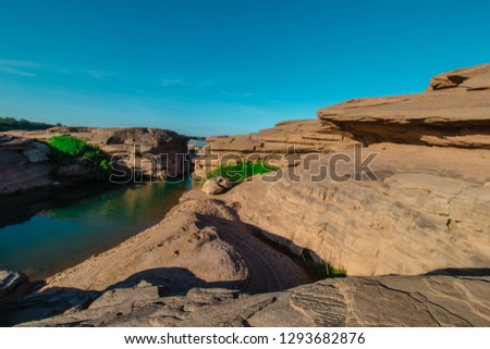 Amazing of rocks, Natural of rock canyon in mekhong river , Hat Chom Dao, Ubon Ratchathani province, North east Thailand #1293682876