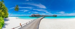 Amazing panorama at Maldives. Luxury resort villas seascape with palm trees, white sand and blue sky. Beautiful summer landscape. Amazing beach background for vacation holiday. Paradise island concept
