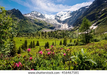 Amazing panorama of French Alps, part of famous trek - Tour du Mont Blanc