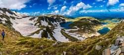 Amazing Panorama of Seven Rila Lakes in Bulgaria