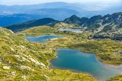 Amazing panorama of The Seven Rila Lakes, Rila Mountain,  Bulgaria