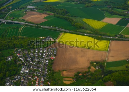 Amazing panoramic view from airplane, Germany #1165622854
