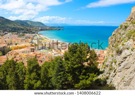 Amazing panoramic view of Sicilian city Cefalu located on the Tyrrhenian coast taken from a view point. The beautiful city is one of the major tourist destinations in Italy.