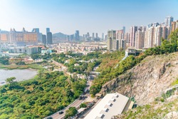 Amazing panoramic view on Macao casino cityscape in city center.