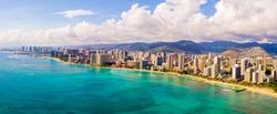 Amazing panoramic view on the Waikiki beach and Diamond head. Honolulu city aerial skyline view.