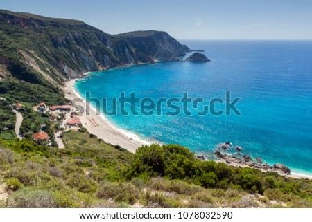 Amazing Paorama of Petani Beach, Kefalonia, Ionian Islands, Greece #1078032590