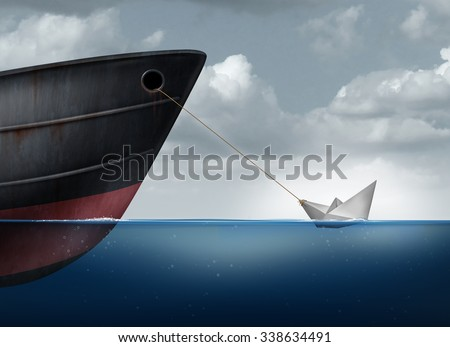 Amazing power concept as a small paper boat in the ocean pulling a huge metal ship as an overachiever metaphor for maximizing potential and business motivation for accomplishing impossible tasks.