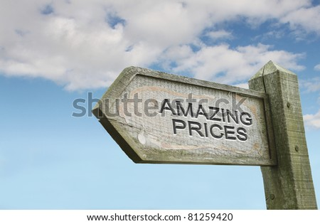 Amazing Prices Old Worn Wooden Sign - stock photo
