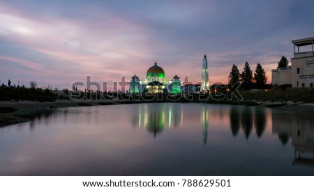 Amazing Reflection at The Strait Mosque of Malacca, Malaysia during sunset. #788629501