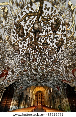 Amazing relief ceiling in the church  in Oaxaca city - Mexico - stock photo
