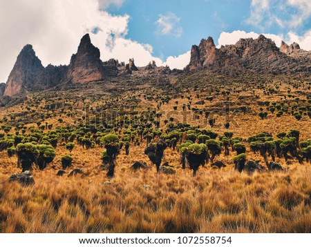 Amazing rock formations on Sirmon Route, Mount Kenya, Mount Kenya National Park  #1072558754