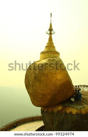 Amazing rock Kyaiktiyo Pagoda in myanmar - stock photo