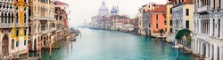 Amazing romantic Venice town. View of Grand canal from Academy' bridge. Italy travel and landmarks