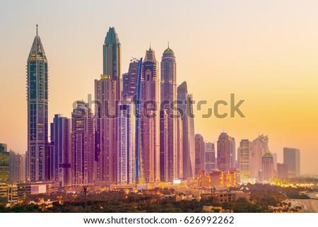 Amazing rooftop view on Dubai Marina skyline and Jumeirah beach, Dubai,United Arab Emirates #626992262