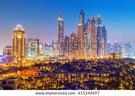 Amazing rooftop view on Dubai Marina skyscrapers and Jumeirah beach, Dubai,United Arab Emirates #615244697