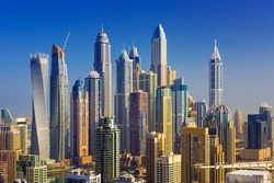 Amazing rooftop view on Dubai Marina skyscrapers, Dubai,United Arab Emirates