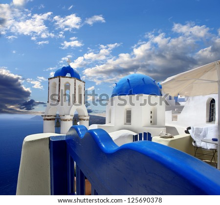 Amazing Santorini with churches and sea view in Greece - stock photo