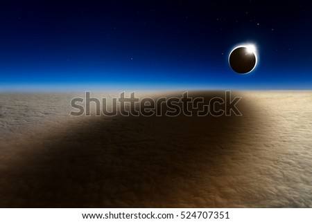 Amazing scientific background - aerial view of total solar eclipse, mysterious natural phenomenon when Moon passes between planet Earth and Sun. NASA images not used. #524707351