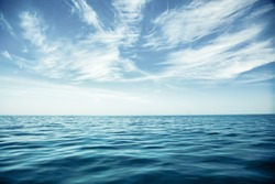 amazing sea and blue sky background