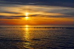 Amazing sea sunset, Nature landscape background