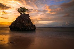 Amazing seascape. Beach during sunset. Rock with tree in the ocean. Waves captured with slow shutter speed. Long exposure with soft focus. Colorful sky with clouds. Bingin beach, Bali, Indonesia
