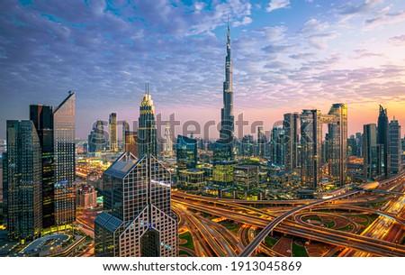 Amazing skyline of Dubai City center and Sheikh Zayed road intersection, United Arab Emirates