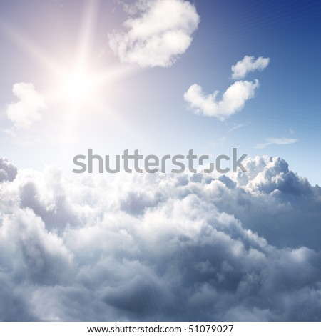 Amazing skyline view from airplane window - sun and clouds - beautiful background