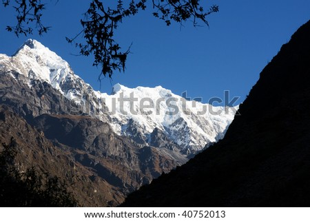 Amazing snow peaks in Nepal, Langtang region. Very beautiful and calm place. Ideal to meditate.