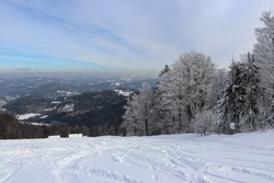 Amazing snowy winter scenery and breathtaking views in the Silesian Beskydy Mountains in Poland near the town of Wisla. Great place to relax for everyone.