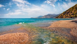 Amazing spring view of Buneci Beach with small river. Calm morning seascape of Adriatic sea. Spectacular spring scene of Albania, Europe. Traveling concept background.