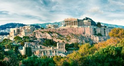 Amazing spring view of Parthenon, former temple, on the Athenian Acropolis, Greece, Europe. Colorful morning scene in Athens. Treveling concept background. Instagram filter toned.