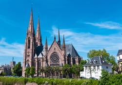 Amazing St Paul gothic Church in Strasbourg France