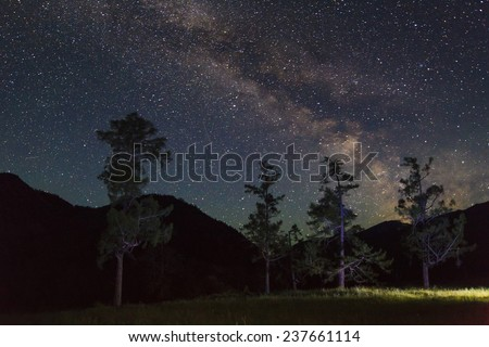 Amazing starry night in the high mountains with falling stars