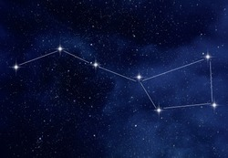 Amazing starry night sky with Ursa Major constellation or the Great Bear and the Big Dipper constellation